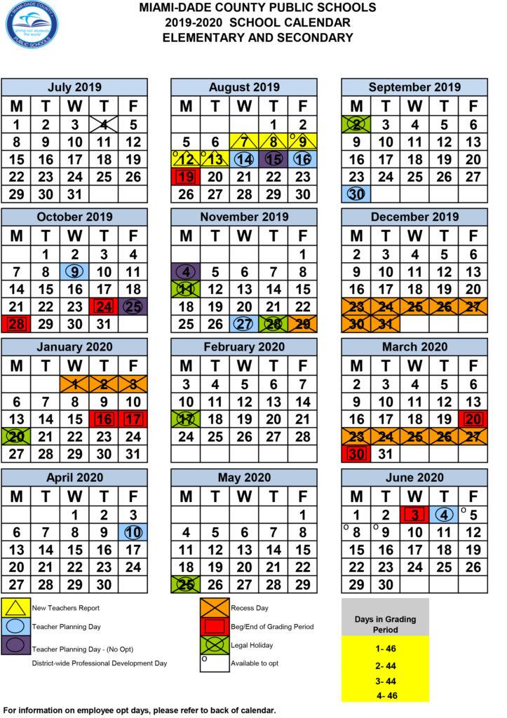 Miami Dade Elementary School Calendar 2020 Calendar – TLCDowntown